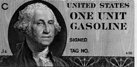 Gasoline ration coupons, printed for emergency use (but never issued) during the energy crisis in 1979.