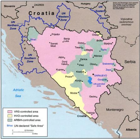 Η Βοσνία το 1994 (με ροζ χρώμα η Σερβική κατοχή)