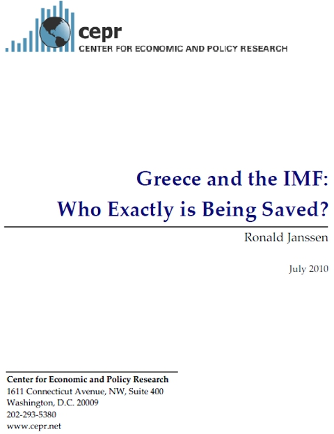 Greece and the IMF (Ronald Janssen) CEPR July 2010