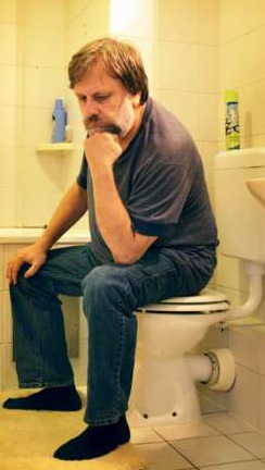 Zizek, thinking in toilet