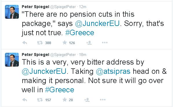 Peter Spiegel to Juncker